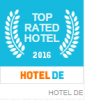 Logo Top Rated Hotel 2016 von Hotel.de